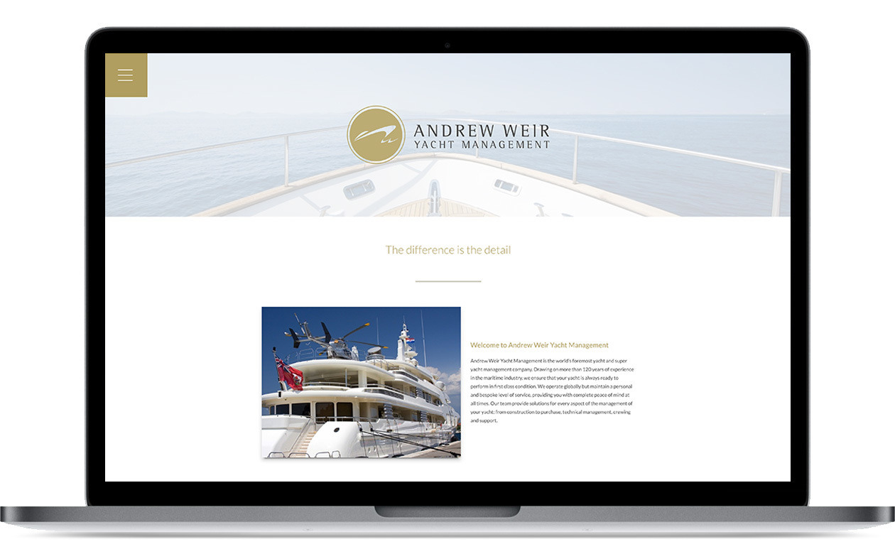 Andrew Weir Yacht Manegement - website
